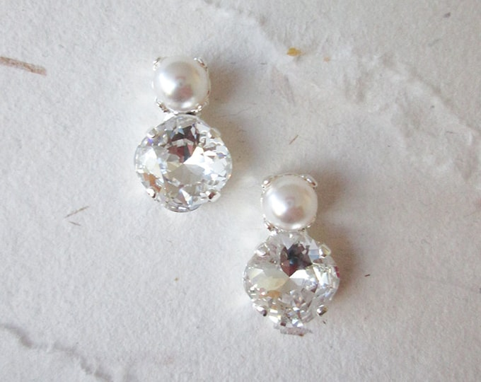 Bridal crystal and pearl studs, Dainty crystal studs, Swarovski crystal bridal earrings, Stud earrings in gold, silver, rose gold, Wedding