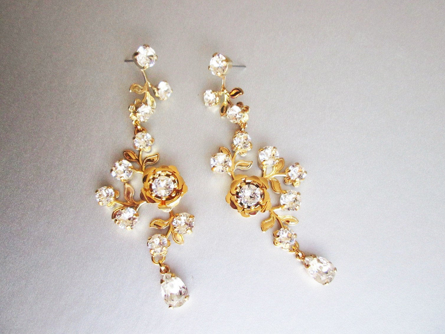Bridal Swarovski earrings, Vintage style crystal earrings