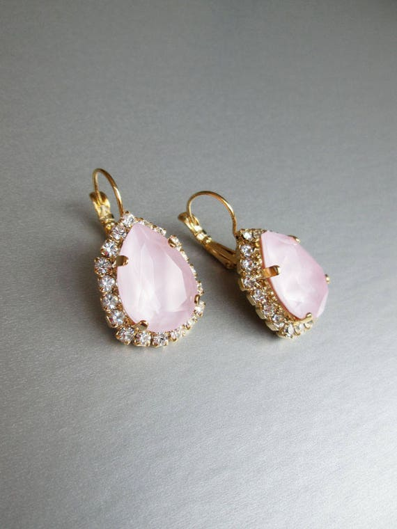 64a014a54 Bridal pale pink earrings, Swarovski crystal pink bridal earrings, Drop  earrings, Powder rose wedding earrings in gold, silver, rose gold,