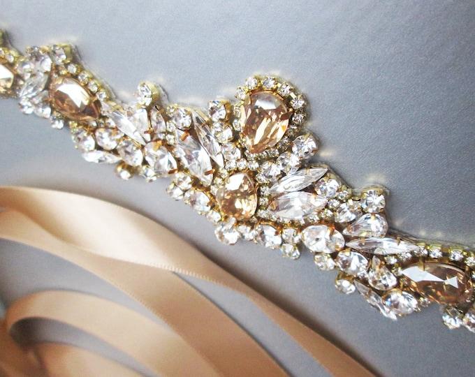 Beige Sand Swarovski crystal bridal belt, Champagne Crystal belt silver or gold, Wedding belt sash, Swarovski Rhinestone belt light brown