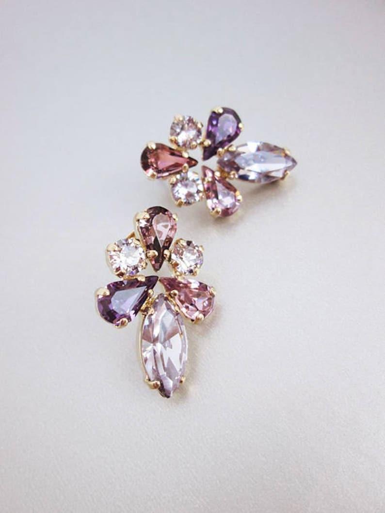 5843c3e6f Lavender lilac Bridal crystal earrings Swarovski crystal | Etsy