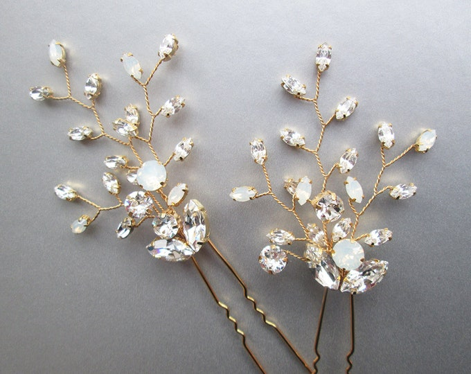 Opal Swarovski crystal hair pins, Bridal crystal hair pins, Wedding hair pins, Rhinestone floral hair pin, White opal Swarovski pins gold