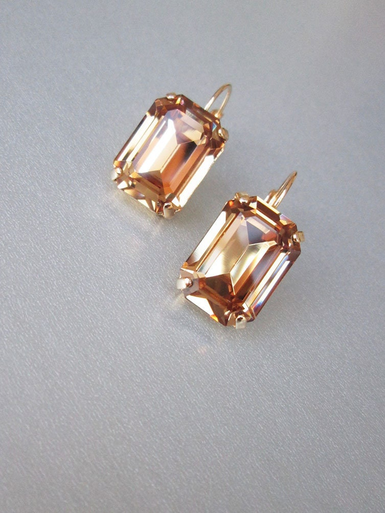 e72ab57ed Honey Champagne Swarovski crystal bridal earrings, Emerald cut ...