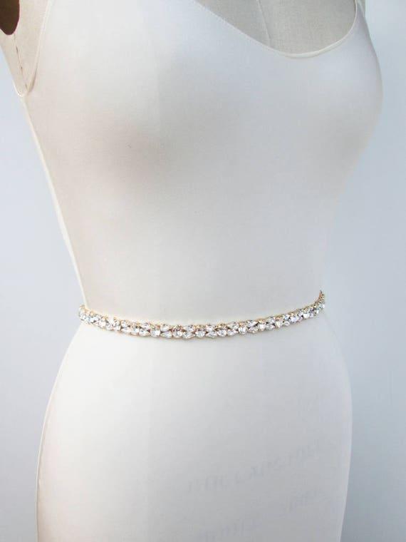8ee659fdc94 Swarovski crystal bridal belt sash Silver skinny belt Bridal