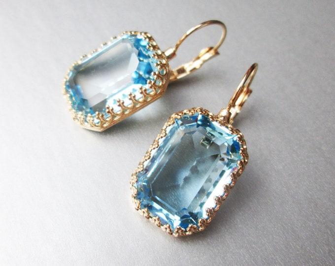 Transparent Blue Aquamarine Swarovski crystal bridal earrings, Emerald cut Swarovski drop earrings, Wedding earrings, Bridesmaids earrings