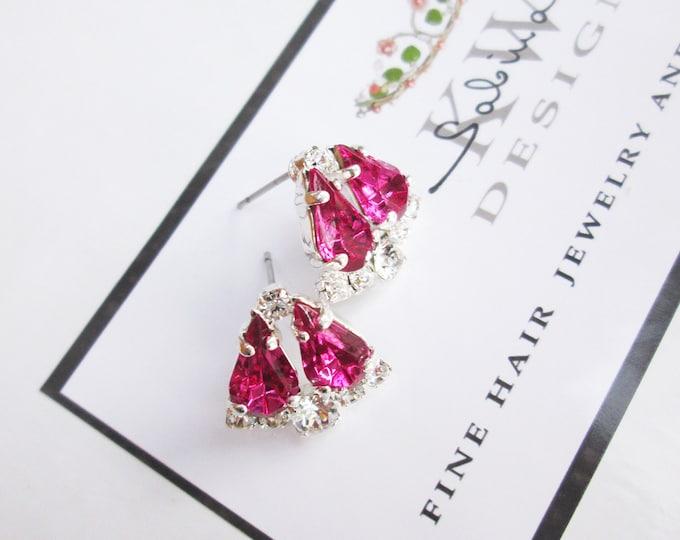 Fuchsia Dainty Bridal crystal studs, Swarovski earrings, Wedding earrings, Stud rhinestone earrings bridal party, bridesmaids