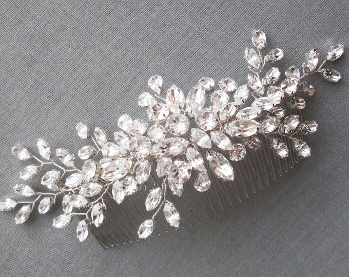 Swarovski crystal hair comb, Bridal crystal hair comb, Rhinestone bridal comb, Wedding hair comb, Fancy Bridal hair clip in gold or silver