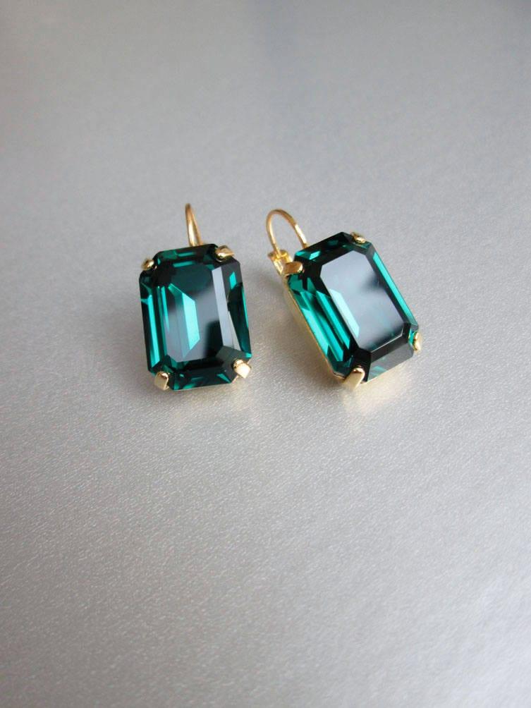 86c42db13 Swarovski crystal emerald bridal earrings, Emerald Swarovski drop ...