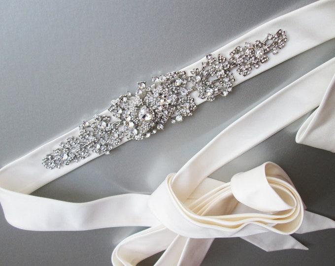 Silk Bridal crystal belt sash, Rhinestone belt in Duchess satin, Wedding belt sash in silk organza, Bridal crystal silk organza belt sash