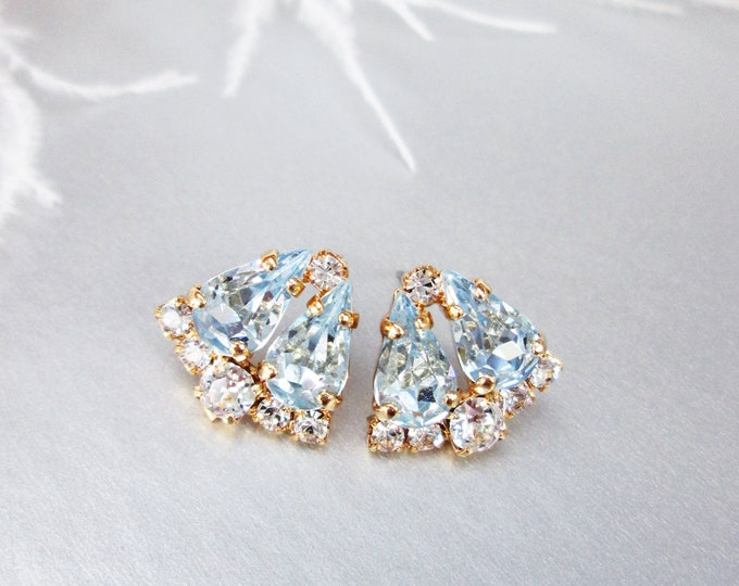 Something Blue Dainty Bridal crystal studs, Swarovski earrings, Wedding earrings, Stud rhinestone earrings bridal party, bridesmaids