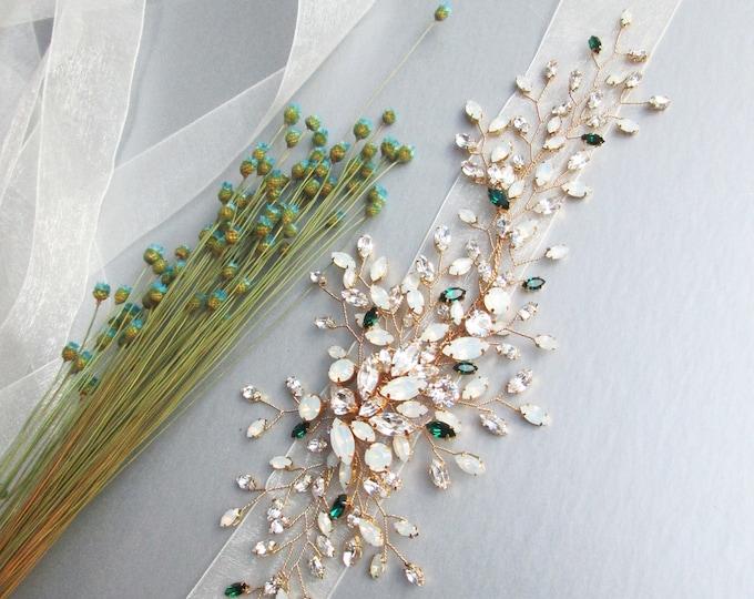Emeralds and Opals- Exquisite bridal belt sash, Bridal Swarovski crystal belt, Wedding Swarovski crystal floral belt gold, silver, rose gold