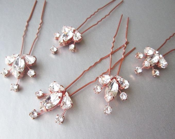Swarovski crystal hair combs, Bridal crystal hair combs, Wedding hair pins, Dainty Swarovski crystal combs, Sparkly bridal spray pins combs