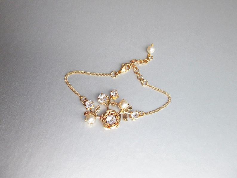 Swarovski crystal and pearl bridal bracelet Rose Swarovski image 0