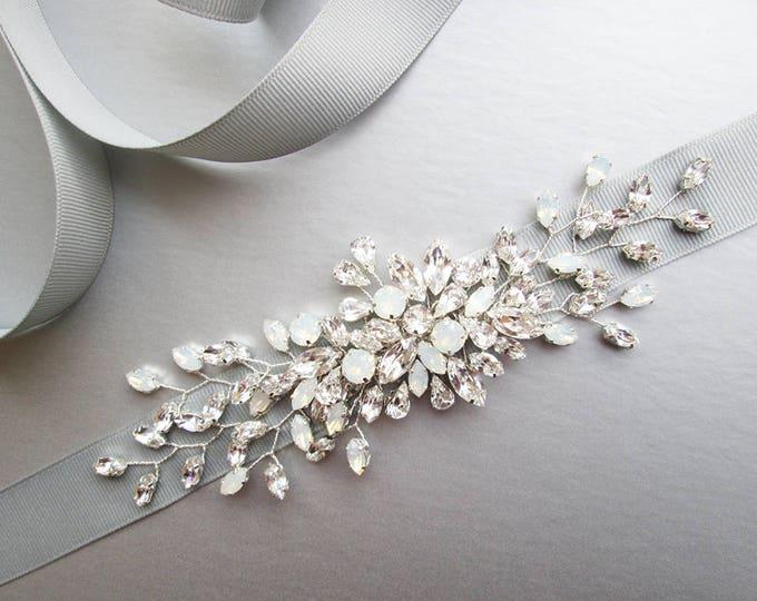 Bridal Swarovski belt, Crystal belt sash in gold, silver, rose gold, Wedding belt, Waist sash, Opal bridal belt in silver, gray, platinum