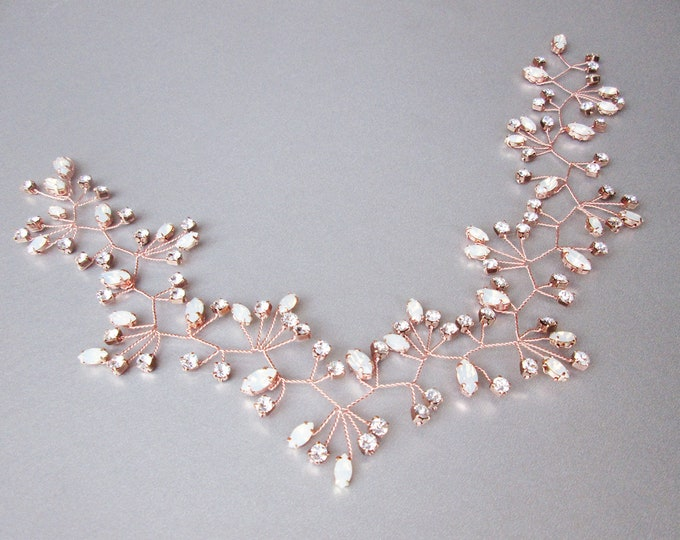 Rose gold crystal hair vine, Crystal Headband, Headpiece hair vine in opal clear crystal mix, Bridal headband, Wedding headpiece