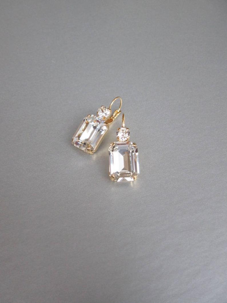 00fe35429 Swarovski crystal bridal gold earrings Emerald cut bridal   Etsy