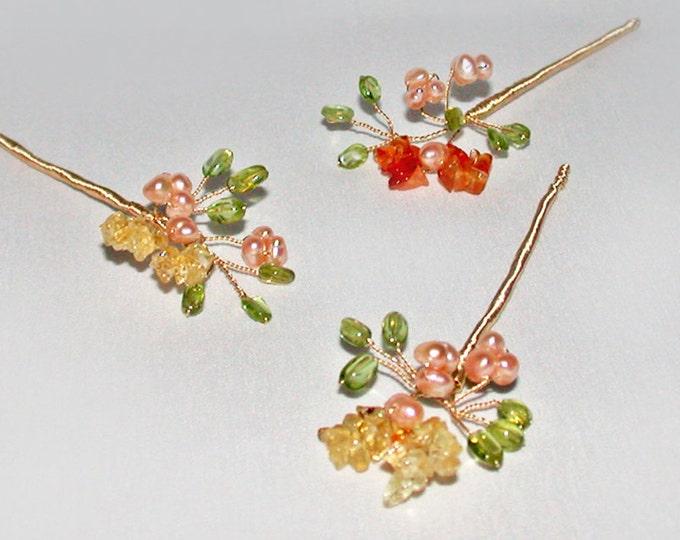 Tiny blossoming gemstone branches hair pins, Bridal gold hair pins, Gemstone pins, Pearl and gem hair pins, Wedding hair pins, set of 3