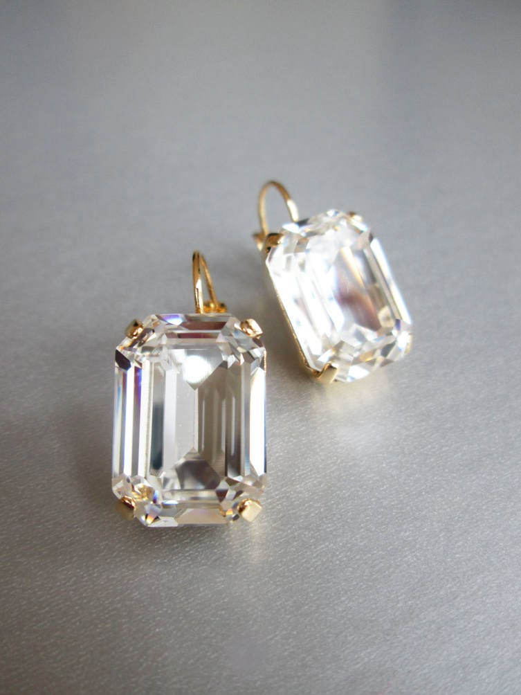 4a7310dcf Swarovski crystal bridal earrings, Emerald Swarovski drop earrings ...