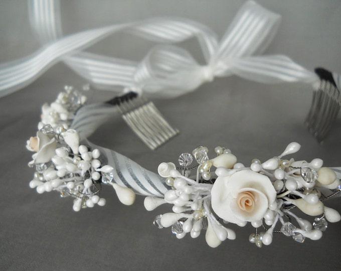Bridal headband - Porcelain flowers and crystal headband wreath halo