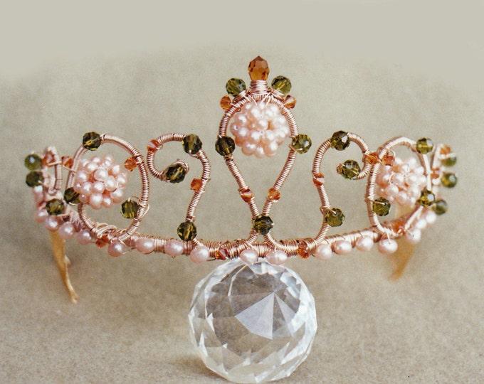 Swarovski crystal and pearl bridal tiara, Wedding tiara with pearl and crystal, Swarovski tiara in peach or pink, gold, silver, rose gold