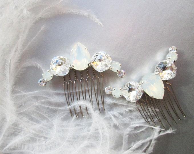 Crescent Swarovski crystal hair combs set, White opal hair combs, Bridal hair combs set, Versatile  Wedding opal combs, Small bridal combs