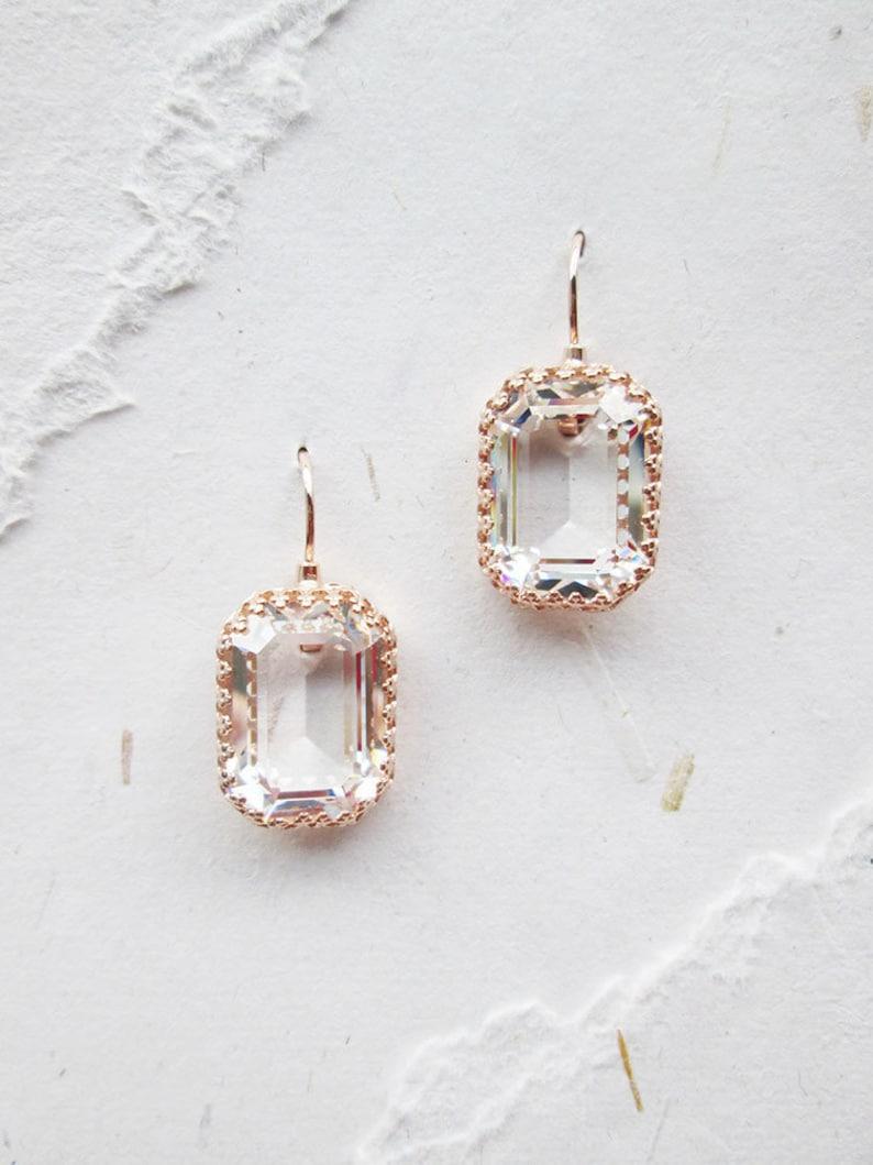 d3323aacd Transparent Swarovski crystal bridal earrings Emerald cut   Etsy
