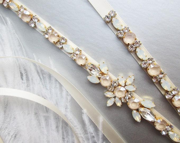 Pastel Champagne opal Bridal belt sash, Crystal belt ivory cream, Wedding belt, Swarovski Opal bridal belt, Rhinestone Swarovski sash