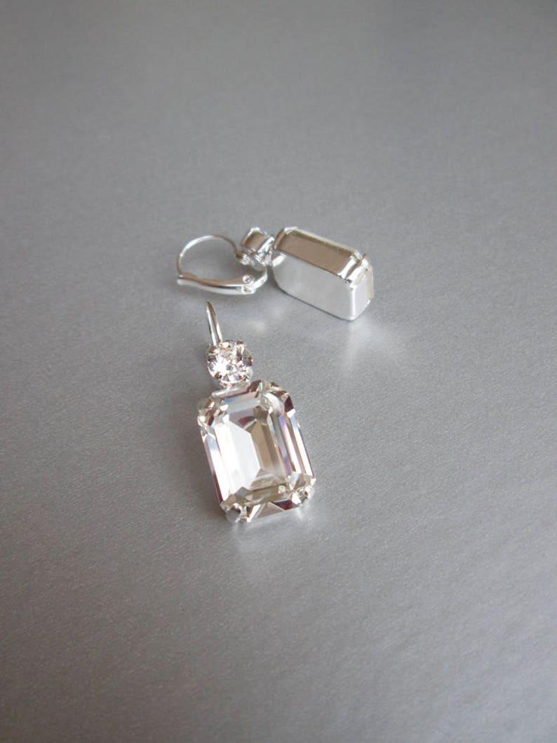 2814d3a7e Swarovski crystal bridal earrings Emerald cut bridal   Etsy