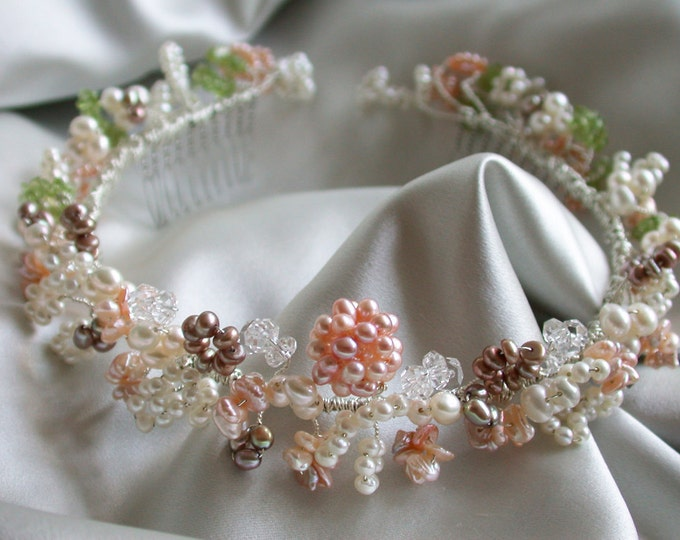 Bridal pearl headband, Pearl and crystal headband - wreath, Wreath headband with cultured freshwater pearl and gemstones, Pink bridal wreath