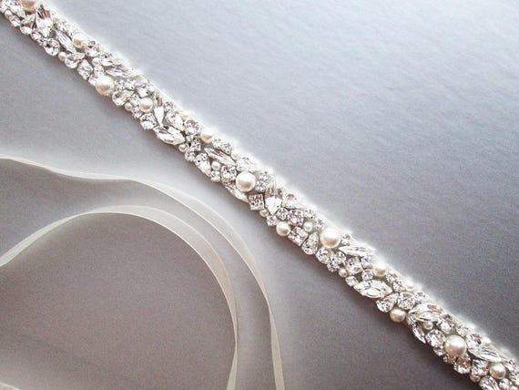 1PC Fashion Women Rhinestone Crystal Wedding Dress Bridal Waist Bridal Belt Sash