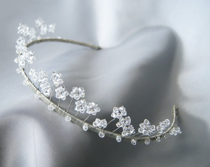 Sparkly stars bridal crystal tiara, Swarovski crystal tiara, Wedding crystal tiara,