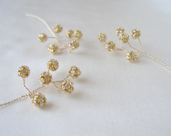 Gold and crystal hairpins, Bridal crystal hair pins, Wedding hair jewelry, Bridal pins, Wedding pins in gold or silver - includes 5 pieces
