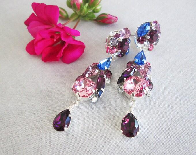 Purple blue Swarovski earrings, Swarovski crystal earrings, Vintage style chandelier earrings  sapphire and amethyst, Drop earrings Dangling
