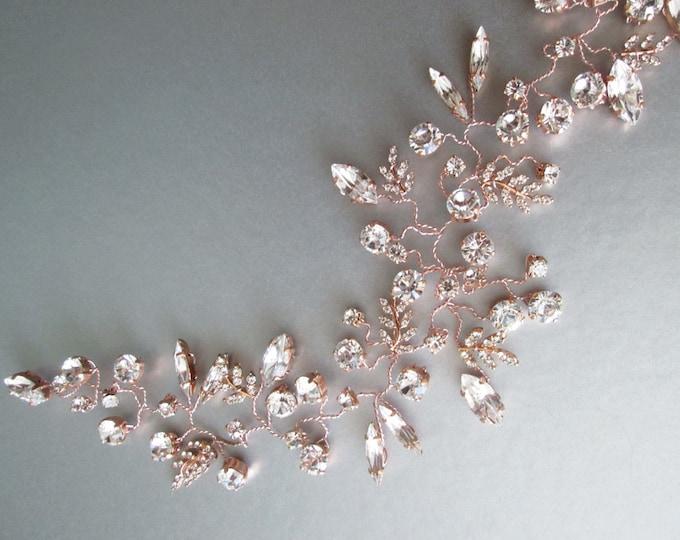 Swarovski bridal rose gold hair vine, Bridal crystal headband, Bridal hair vine, Wedding Swarovski hair vine in rose gold, silver or gold