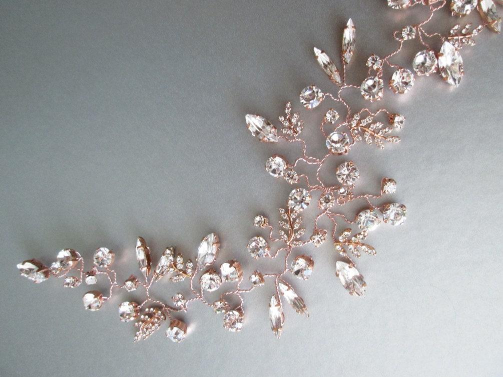 Swarovski Bridal Rose Gold Hair Vine Bridal Crystal Headband Bridal Hair Vine Wedding Swarovski Hair Vine In Rose Gold Silver Or Gold