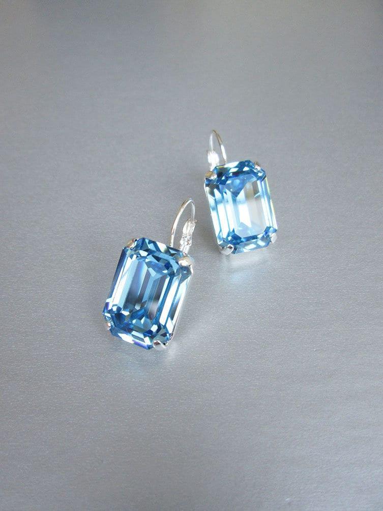 b78176868 Blue aquamarine Swarovski crystal bridal earrings, Emerald cut ...