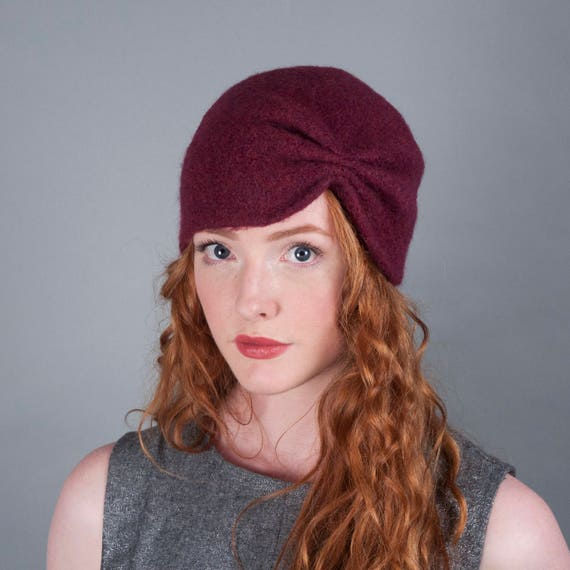 Women s Wool Felt Winter Hat    Merino Wool    Turban     f1b58e1d6596