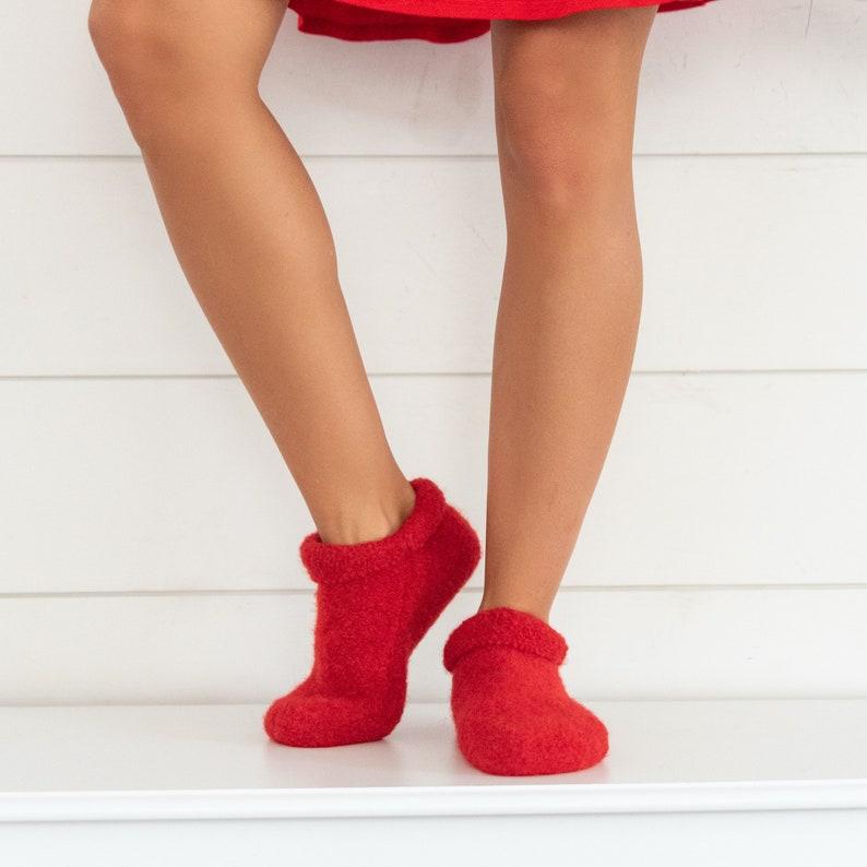 Boiled Wool Slipper Socks // Felted Merino Wool Clog shaped Red
