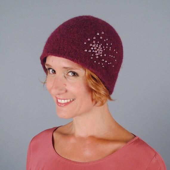 Wool Felt with Pearl Winter Hat    Merino Wool    Glass  84567847632a