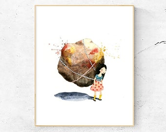 Girl and Rock Art Print, Watercolor painting, Art, Children's Book Illustration, Eluvia