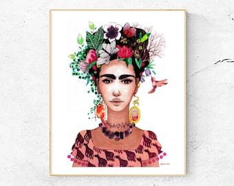 Frida Kahlo Art Print, Woman Portrait,  Floral Watercolor Painting, Illustration Art