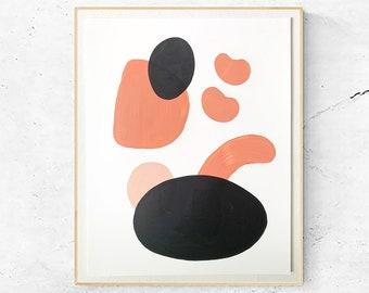 Abstract Shapes Painting, Acrylic Modern Artwork, Organic Minimalist, Bohemian Decor, #4