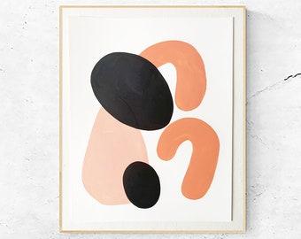Abstract Shapes Painting, Acrylic Modern Artwork, Organic Minimalist, Bohemian Decor, #2