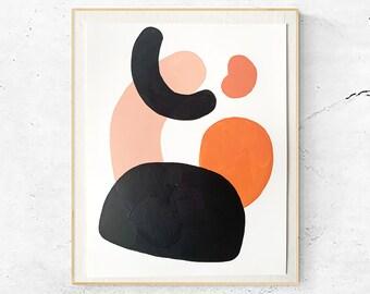 Abstract Shapes Painting, Acrylic Modern Artwork, Organic Minimalist, Bohemian Decor, #1
