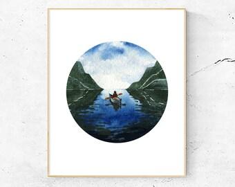 Wandering Canoe Art Print, Watercolor Painting, Mountains, Lake, Travel and Explore, Nature Art