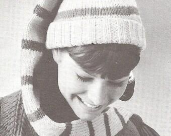 70b0b549fd6c6c INSTANT DOWNLOAD, Vintage Knitting Pattern, Youth/Adult Long Stocking Cap  Pattern PDF pattern