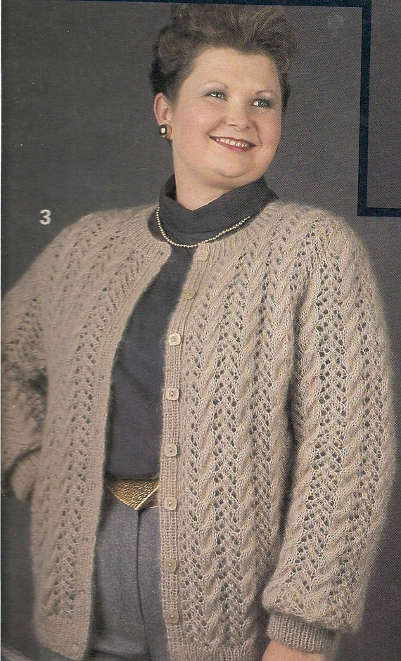 Vintage Plus Size Cardigan Sweater With Lace Knitting Pattern Etsy