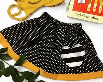 Black & White Polka Dot Skirt with Mustard Yellow Trim