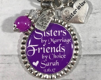 Personalized Sister in Law Gift, Sister of the Groom Gift, Bridesmaid Gift, Wedding Bracelet, Appreciation Gift, Sister in law Jewelry