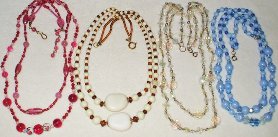 4 Vintage Double strand beaded necklaces